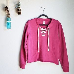 Alternative Apparel   Lace-Up Cropped Pullover